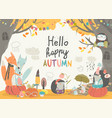 funny animals meeting autumn in forest vector image