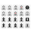 Gingerbread man Christmas buttons set vector image vector image