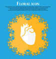 Human heart icon Floral flat design on a blue vector image