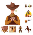 isolated object wild and west logo collection vector image