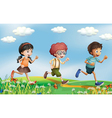 Kids running at the hills vector image vector image