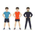 man playing sport with different sportswear vector image vector image