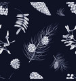 monochrome seamless pattern with parts winter vector image vector image