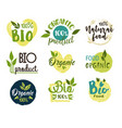 natural and organic eco and fresh food stickers vector image vector image