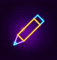 pencil neon sign vector image vector image