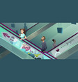 people on escalators in shopping center vector image vector image