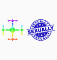 rainbow colored pixel quadcopter icon and vector image vector image