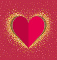 red paper love heart with gold shimmer vector image vector image
