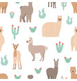Seamless pattern with adorable llamas hand drawn