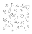set of baby items baby sleeps and bathes vector image vector image