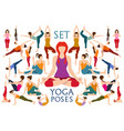 set yogi woman in asana pose vector image vector image