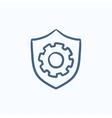 Shield with gear sketch icon vector image