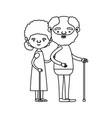 sketch silhouette full body couple elderly in vector image