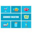 summer vacation cartoon icons set travel vector image vector image