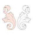 vintage baroque frame scroll ornament engraving vector image vector image