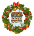 Christmas Wreath with House vector image