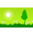 Silhouette of tree with flower at spring landscape vector image