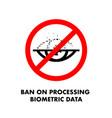 ban on processing biometric data no eye scan sign vector image