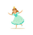 beautifull little girl princess in a light blue vector image vector image