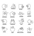 black and white geometric shapes with insects vector image