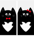 black cat kitty family holding empty heart shape vector image vector image