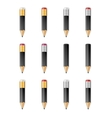 Black wooden sharp pencils vector image vector image