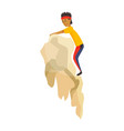 boy climbing on a rock mountain without equipment vector image vector image