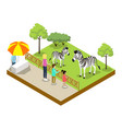 cage with zebras isometric 3d icon vector image vector image