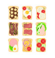 cartoon color different sandwiches icon set vector image vector image