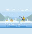 cartoon man character fishing on frozen lake vector image