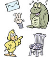 cartoon of a set of funny clipart drawings and vector image