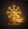 christmas gold snowflake with glowing lights vector image