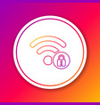 color wifi locked sign line icon isolated on vector image vector image