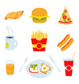 colorful fast food isolated on white vector image vector image