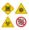 coronavirus warning and stop sign set on white vector image vector image
