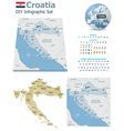 Croatia maps with markers vector image vector image