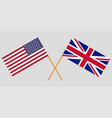 crossed flags usa and uk vector image vector image
