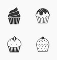 cupcake icon set silhouette vector image vector image
