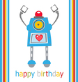 Cute Birthday robot vector image vector image