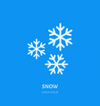 cute white snowflakes flat line icon on blue vector image vector image