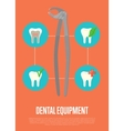 Dental equipment banner with dentist pliers vector image vector image