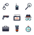 detective icons set cartoon style vector image vector image