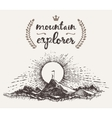 Drawn man top mountain winner concept explorer vector image vector image