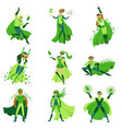 eco superhero characters set young men and women vector image vector image