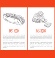 fast food hot dog posters set vector image vector image