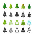 flat christmas winter trees with festive xmas vector image vector image