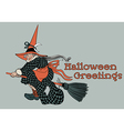 Flying Witch Halloween Greetings vector image vector image