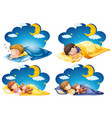 four scenes kid sleeping in bed at night time vector image vector image