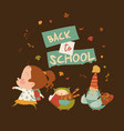 funny girl going to school with happy owls vector image vector image