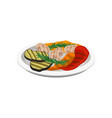 grilled vegetables on a plate vegetarian food vector image vector image